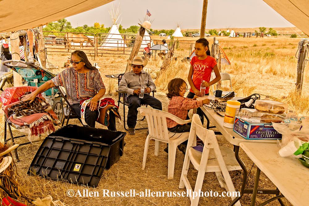 Crow Fair, Alma Real Bird, wife of Henry Real Bird, grandkids, Crow Indian Reservation, Montana