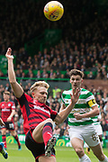 14th October 2017, Celtic Park, Glasgow, Scotland; Scottish Premiership football, Celtic versus Dundee; Dundee's A-Jay Leitch-Smith and Celtic's Kieran Tierney
