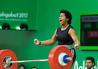 Ashgabat 2017 - 5th Asian Indoor & MartialArts Games 24-09-2017. Weightlifting womens 90kg - Eileen Cikamatana (FIJ) competes in clean and jerk