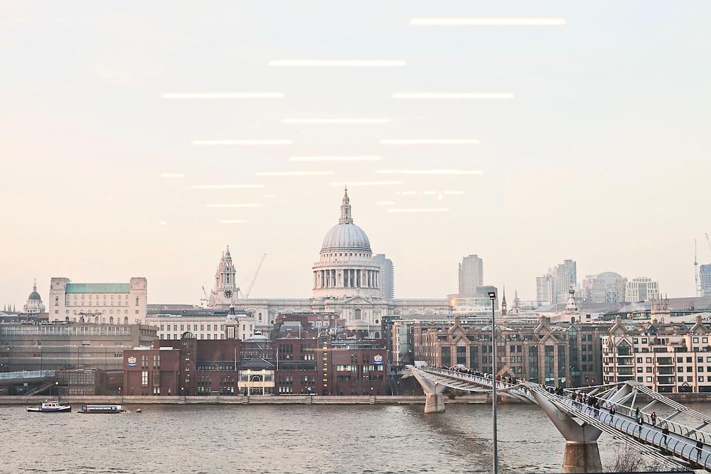 View of St. Pauls and the Millenium Bridge. London, UK. 2012