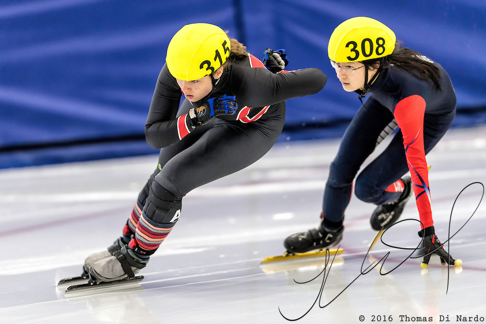 December 17, 2016 - Kearns, UT - Elena Swirczek skates during US Speedskating Short Track Junior Nationals and Winter Challenge Short Track Speed Skating competition at the Utah Olympic Oval.