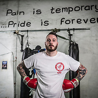 05/05/17 Burnley - Joe Baxendale , Wolseley employee in Halifax practising kick - boxing at the gym in Burnley - for Connexions Magazine