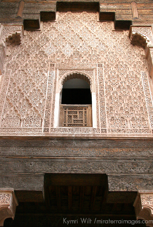 North Africa, Morocco, Marrakesh. Exterior detail of the facade of the Ben Youssef madrassa in Marrakesh.