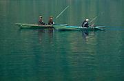 Men Fishing in Angara River in Siberia, Russia (then USSR), 1968.