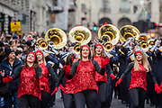 The Walker Valley High School Band - The New Years Day parade passes through central London.