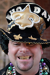 07 February 2010. New Orleans, Louisiana, USA. <br /> Super Bowl XL1V. <br /> Hoyt Richie. New Orleans Saints fans gather in the French Quarter in anticipation of the big game in Miami later in the day as the home team goes head to head with the Indianapolis Colts for Super Bowl 44. <br /> Photo ©; Charlie Varley/varleypix.com