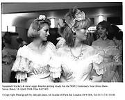 Suzannah Starkey & Zara Legge-Bourke getting ready for the NSPCC Centenary Year Dress Show. Savoy Hotel. 16 April 1984. Film 84254f3<br />© Copyright Photograph by Dafydd Jones. 66 Stockwell Park Rd. London SW9 0DA. Tel 0171 733 0108