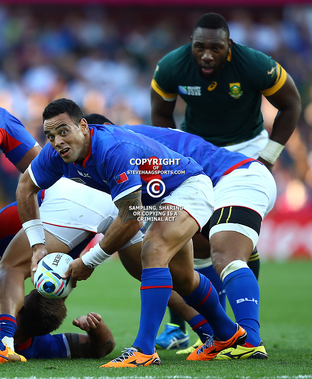 BIRMINGHAM, ENGLAND - SEPTEMBER 26: Kahn Fotuali'i of Samoa during the Rugby World Cup 2015 Pool B match between South Africa and Samoa at Villa Park on September 26, 2015 in Birmingham, England. (Photo by Steve Haag/Gallo Images)