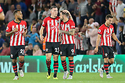 GOAL -1-0 Southampton midfielder Pierre-Emile Hojbjerg (23) celebrates with Southampton striker Danny Ings (9) during the Premier League match between Southampton and Brighton and Hove Albion at the St Mary's Stadium, Southampton, England on 17 September 2018.