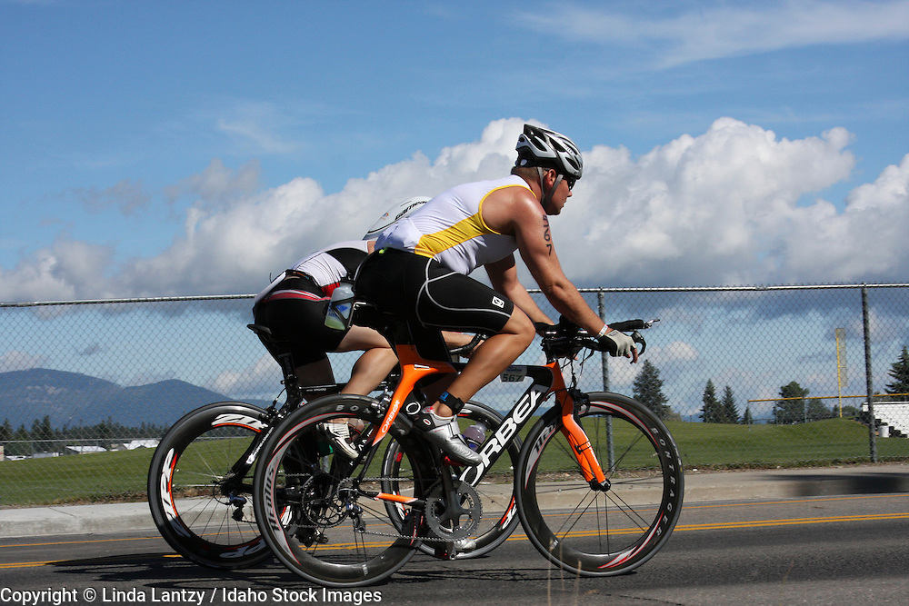 Two competitors during the cycling portion of Ford Ironman 2008 Coeur d'Alene, Idaho. June 22, 2008.