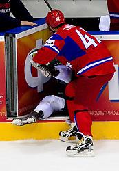Sergei Zinoviev of Russia (R) vs Marcel Rodman of Slovenia during ice-hockey match between Russia and Slovenia of Group A of IIHF 2011 World Championship Slovakia, on May 1, 2011 in Orange Arena, Bratislava, Slovakia. (Photo By Vid Ponikvar / Sportida.com)