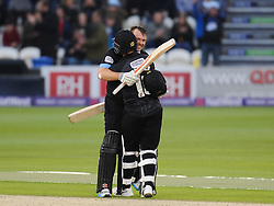 Sussex's Chris Nash celebrates his century with teammate Matt Machan.  - Mandatory by-line: Alex Davidson/JMP - 01/06/2016 - CRICKET - The 1st Central County Ground - Hove, United Kingdom - Sussex v Somerset - NatWest T20 Blast