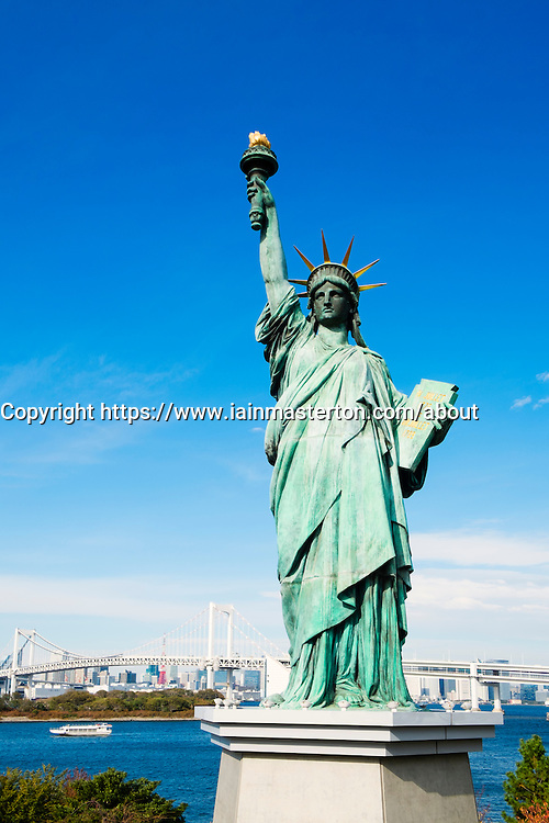 Replica of Statue of Liberty in Tokyo Bay at Odaiba in Tokyo Japan