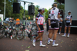 Coryn Rivera (USA) of Team Sunweb waits for sign-on before the Prudential RideLondon Classique - a 64.8 km road race, starting and finishing in central London on July 28, 2018, in London, United Kingdom. (Photo by Balint Hamvas/Velofocus.com)