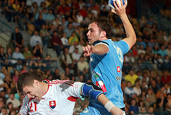 Uros Zorman of Slovenia and Matej Fazik (21) of Slovakia at  handball game between men national teams of Slovenia and Slovakia, first qualification game for the World Chamionship 2009, on June 7, 2008, in Arena Zlatorog, Celje, Slovenija. Result: 33 : 33. (Photo by Vid Ponikvar / Sportal Images)