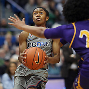 HARTFORD, CONNECTICUT- JANUARY 4: Crystal Dangerfield #5 of the Connecticut Huskies drives to the basket defended by Dominique Claytor #23 of the East Carolina Lady Pirates during the UConn Huskies Vs East Carolina Pirates, NCAA Women's Basketball game on January 4th, 2017 at the XL Center, Hartford, Connecticut. (Photo by Tim Clayton/Corbis via Getty Images)