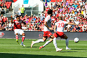 Korey Smith (7) of Bristol City shoots at goal during the EFL Sky Bet Championship match between Bristol City and Nottingham Forest at Ashton Gate, Bristol, England on 4 August 2018. Picture by Graham Hunt.