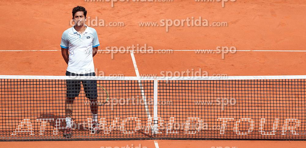 08.08.2015, Sportpark, Kitzbuehel, AUT, ATP World Tour, Generali Open, Finale, Doppel, im Bild Nicolas Almagro (ESP) // Nicolas Almagro of Spain reacts during men' s duobles Final match of the Generali Open <br /> tennis tournament of the ATP World Tour at the Sportpark in Kitzbuehel, Austria on 2015/08/08. EXPA Pictures &copy; 2015, PhotoCredit: EXPA/ JFK