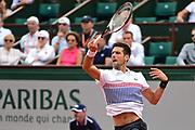Novak Djokovic (SRB) during the preliminary rounds of the Roland Garros Tennis Open 2017 at Roland Garros Stadium, Paris, France on 2 June 2017. Photo by Jon Bromley.