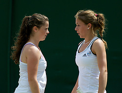 LONDON, ENGLAND - Wednesday, June 29, 2011: Pippa Horn (GBR) and Sarah Beth Askew (GBR) during the Girls' Doubles 1st Round match on day nine of the Wimbledon Lawn Tennis Championships at the All England Lawn Tennis and Croquet Club. (Pic by David Rawcliffe/Propaganda)