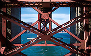 Detail view of the Golden Gate Bridge, as seen from Fort Point, San Francisco
