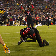 10 September 2016: The San Diego State Aztecs football team hosts Cal in their second game of the season. San Diego State safety Kameron Kelly (7) intercepts a pass in the end zone during the fourth quarter. The Aztecs beat Cal 45-40 to keep their win streak at 12 games going back to last season and improve their record to 2-0.
