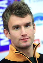 Gasper Markic at press conference of Slovenian men and women alpine skiing national team before new season 2008/2009 in Hervis, City park, BTC, Ljubljana, Slovenia, on October 20, 2008.  (Photo by: Vid Ponikvar / Sportal Images).