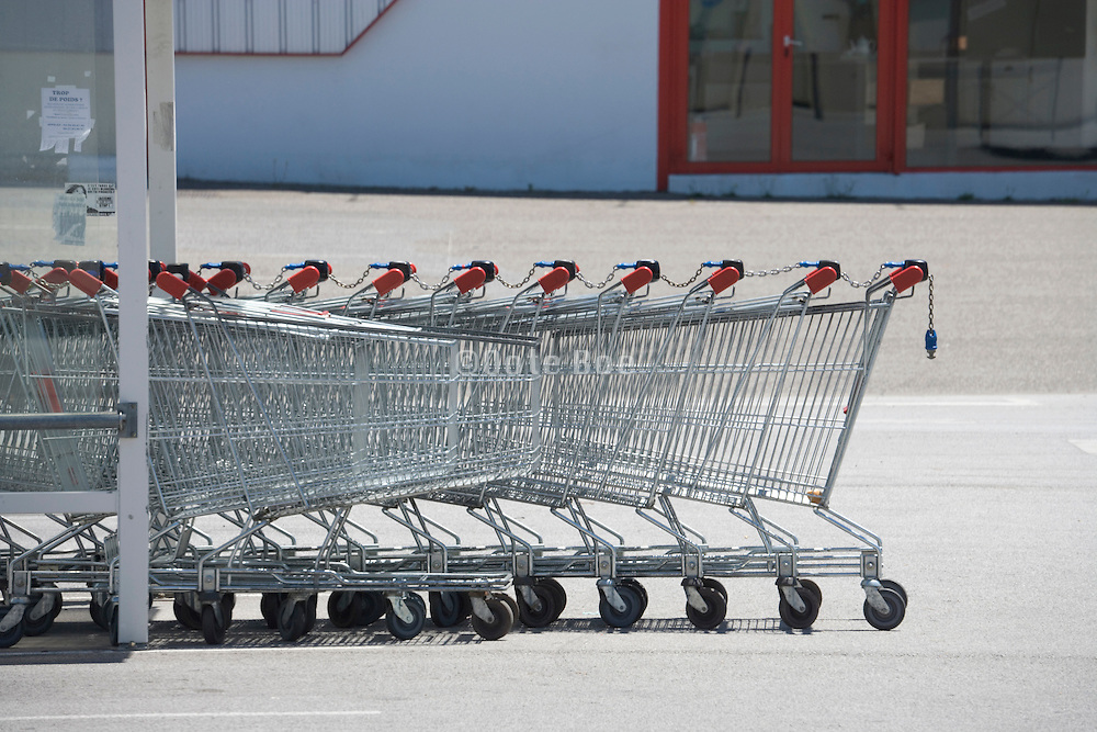 parked shopping carts