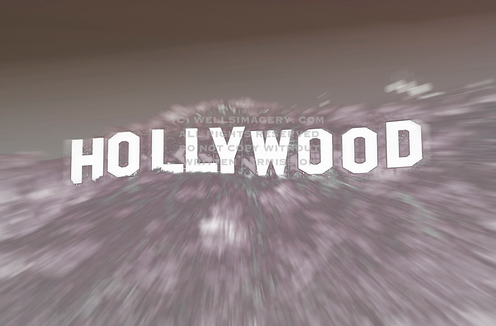 Image of the Hollywood sign in the Hollywood Hills, Los Angeles, California, America west coast
