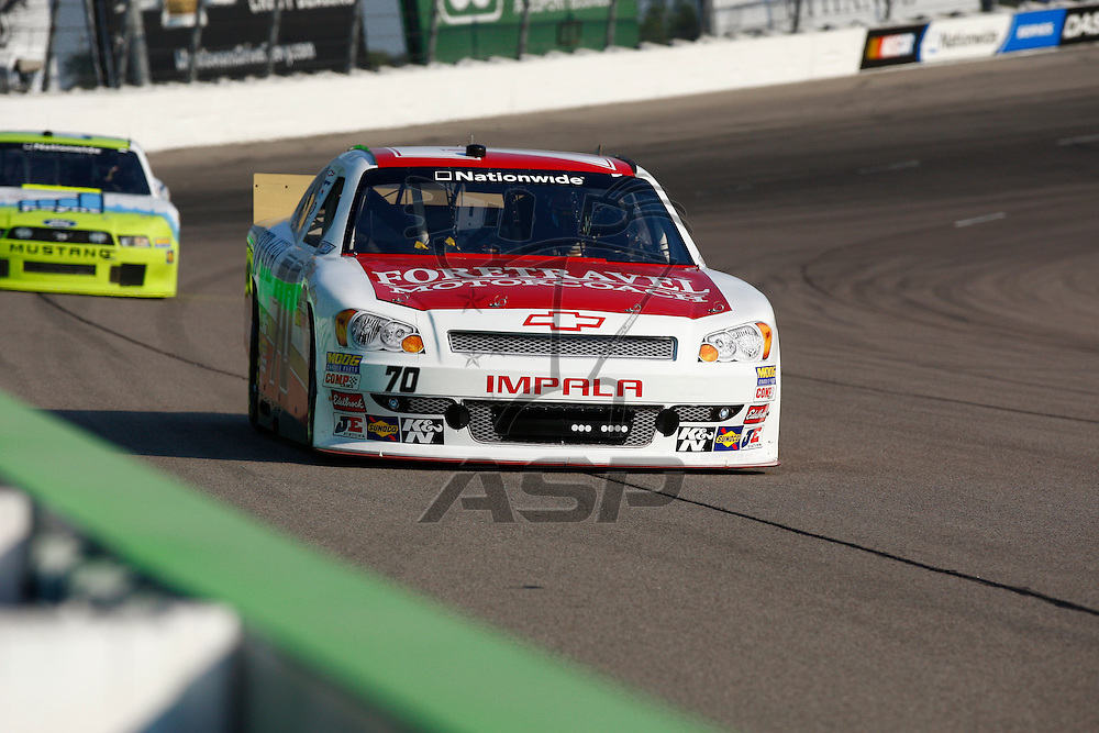 NEWTON, IA - AUG 03, 2012:  Charles Lewandoski (70) brings her car through the turns during the U.S. Cellular 250 Sprint Cup Series race at the Iowa Speedway in Newton, IA.