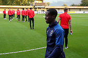 AFC Wimbledon defender Paul Osew (37) walking on pitch in front of Leyton Orient team during the Leasing.com EFL Trophy match between AFC Wimbledon and Leyton Orient at the Cherry Red Records Stadium, Kingston, England on 8 October 2019.
