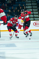 KAMLOOPS, CANADA - NOVEMBER 5:  Dylan Cozens #25 of Team WHL jumps out of the way of a pass against the Team Russia on November 5, 2018 at Sandman Centre in Kamloops, British Columbia, Canada.  (Photo by Marissa Baecker/Shoot the Breeze)
