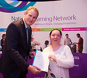 Sean Kyne TD Minister of State for Community Affairs, Natural Resources and Digital Development, presenting certification  in Employer Based Training  to Jennifer Lambert QQI level 4 in IT skills  workplace safety and Work Experience. Photo:Andrew Downes, xposure .