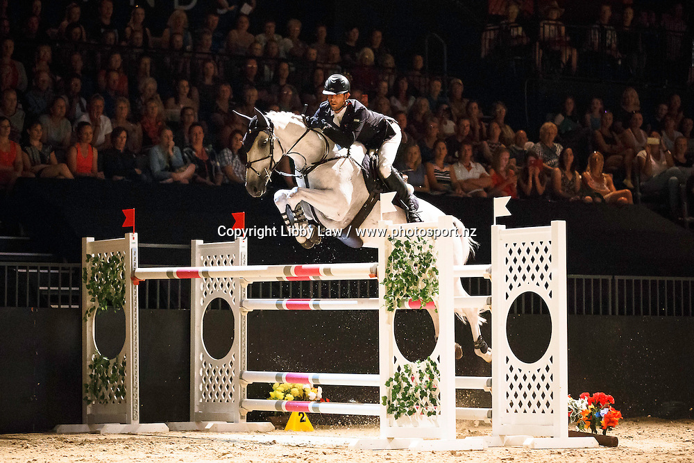 NZL-Clarke Johnstone (BALMORAL SENSATION) EIAF 1.60m Jumping Grand Prix: 2016 NZL-Riding with the Stars, Claudelands Arena, Hamilton (Friday 12 February) CREDIT: Libby Law COPYRIGHT: LIBBY LAW PHOTOGRAPHY