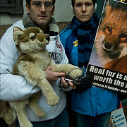 Animal Rights Protesters with signs.  What is offensive deviant behavior? New York City.  Every year on the day after Thanksgiving for the last two decades, thousands of people around the U.S. have held demonstrations, marches, vigils and other activities for Fur Free Friday to protest a global multi-billion dollar industry that kills over 40 million animals annually. This national day of action is held on the busiest shopping day of the year, just as autumn changes to winter (when most furs are purchased). This allows activists to reach the greatest number of consumers, including those who may be thinking about buying fur as a gift or for their own use..The message of Fur Free Friday is simple: The suffering and deaths of feeling animals is not worth the price of an expensive coat or the fur trim on a jacket collar, so please don't pay for the blood of innocent animals. Commercial fur and fur trim are stolen from animals who are trapped in the wild or confined on fur mills, raised in wire mesh cages and exposed to seasonal temperature extremes. These are the real fashion victims -injected with weed killer, burned by anal or vaginal electrocution, and trapped and clubbed to satisfy the vanity and greed of selfish human beings..
