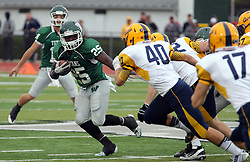18 October 2014: Anfernee Roberts looks for room on the right during an NCAA division 3 football game between the Augustana Vikings and the Illinois Wesleyan Titans in Tucci Stadium on Wilder Field, Bloomington IL