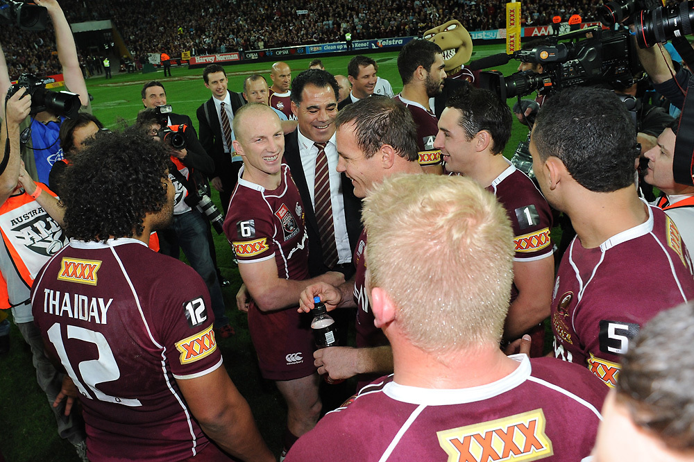 July 6th 2011: Maroons coach, Mal Menninga celebrates with Darren Lockyer on the field after game 3 of the 2011 State of Origin series at Suncorp Stadium in Brisbane, QLD, Australia on July 6, 2011. Photo by Matt Roberts / mattrimages.com.au / QRL