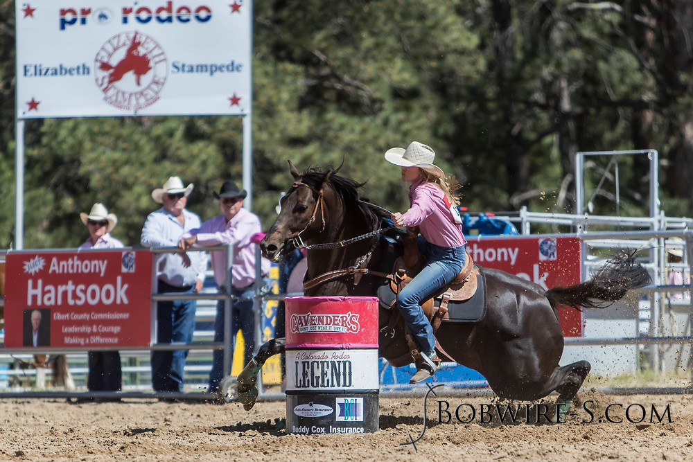 Alison Miller makes her barrel racing run in the first performance of the Elizabeth Stampede on Saturday, June 2, 2018.