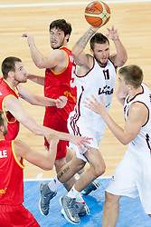 Sam Van Rossom #5 of Belgium vs Armands Skele #11 of Latvia during basketball match between National teams of Latvia and Belgium in 2nd Round at Day 12 of Eurobasket 2013 on September 14, 2013 in SRC Stozice, Ljubljana, Slovenia. (Photo By Urban Urbanc / Sportida)