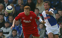 Photo: Paul Thomas.<br /> Blackburn Rovers v Liverpool. The Barclays Premiership. 16/04/2006.<br /> <br /> Liverpool's John Arne Riise (L) and Blackburns Lucas Neill.