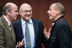 (L-R) Spanish Economy Minister Luis de Guindos, French Foreign Minister Michel Sapin Greek Finance Minister Yanis Varoufakis during an emergency Eurogroup finance ministers meeting at the European Council in Brussels, Belgium on 20.02.2015 Eurogroup head Jeroen Dijsselbloem was working overtime on February 20 to save a make-or-break meeting on Greece's demand to ease its bailout programme as and Germany insisted it stick with its austerity commitments after days of sharp exchanges, the 19 eurozone finance ministers gathered for the third time in little over a week to consider Athens' take-it or leave-it proposal to extend an EU loan programme which expires this month. by Wiktor Dabkowski. EXPA Pictures © 2015, PhotoCredit: EXPA/ Photoshot/ Wiktor Dabkowski<br /> <br /> *****ATTENTION - for AUT, SLO, CRO, SRB, BIH, MAZ only*****