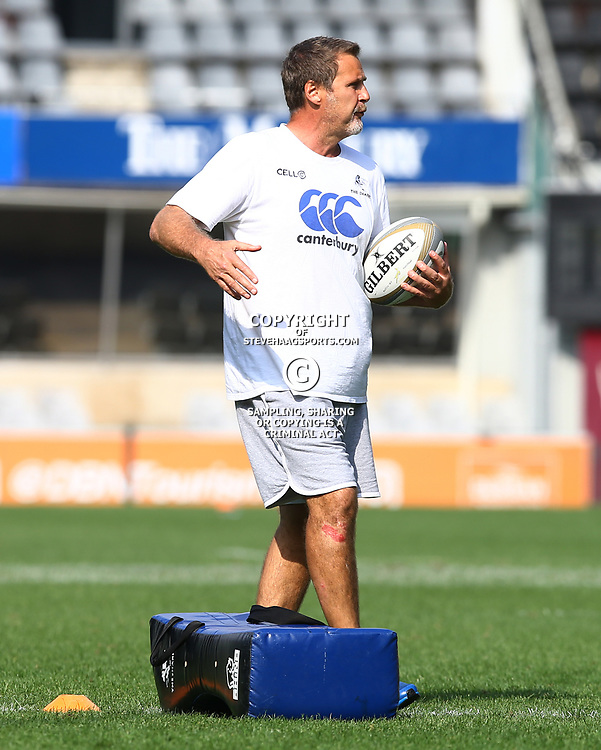 Robert du Preez (Head Coach) of the Cell C Sharks during The Cell C Sharks captain's run at Growthpoint Kings Park in Durban, South Africa. 3rd August 2017(Photo by Steve Haag)<br /> <br /> images for social media must have consent from Steve Haag
