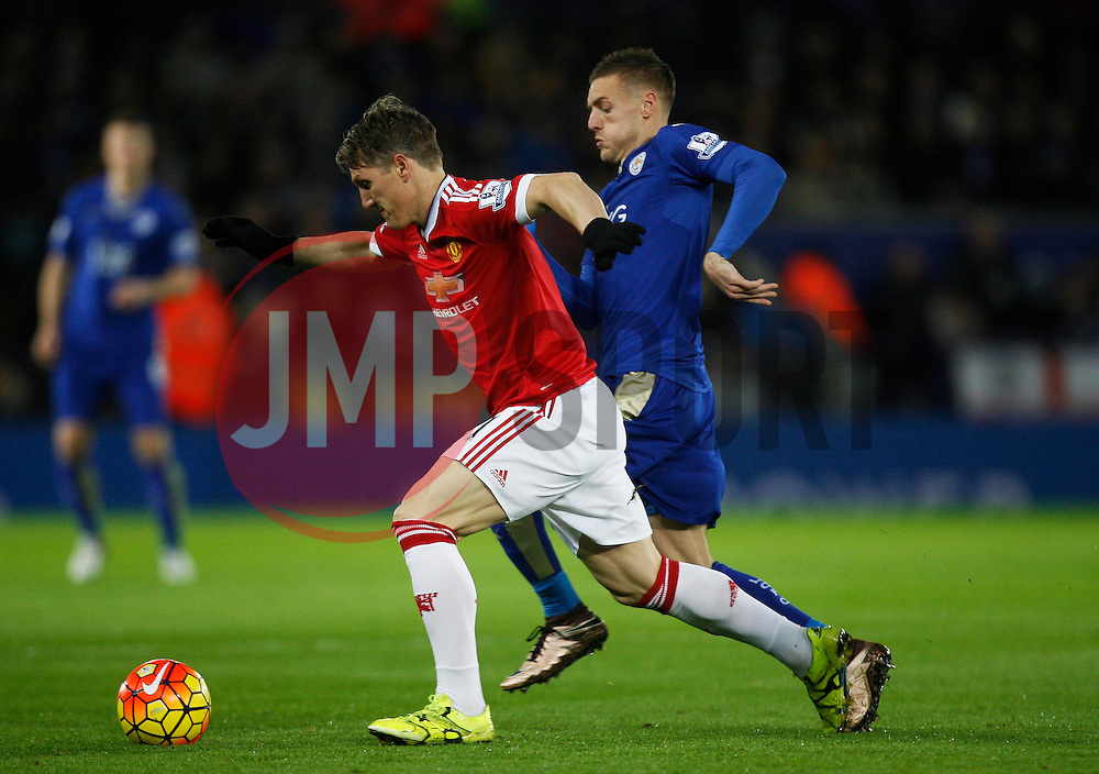 Jamie Vardy of Leicester City tackles Bastian Schweinsteiger of Manchester United (L)  - Mandatory byline: Jack Phillips/JMP - 07966386802 - 28/11/2015 - SPORT - FOOTBALL - Leicester - King Power Stadium - Leicester City v Manchester United - Barclays Premier League