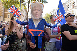 © Licensed to London News Pictures. 31/08/2019. London, UK. UK. Protesters take part in a demonstration in Westminster against British Prime Minister Boris Johnson's plan to suspend Parliament until October 14th. Opponents of the Prime Minister suggest the move is to reduce the time available for MP's to stop a no deal Brexit.Photo credit: R. ay Tang/LNP