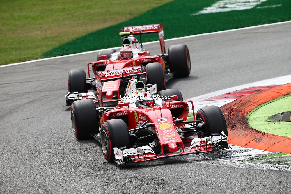 &copy; Photo4 / LaPresse<br /> 04/09/2016 Monza, Italy<br /> Sport <br /> Grand Prix Formula One Italia 2016<br /> In the pic: Sebastian Vettel (GER) Scuderia Ferrari SF16-H and Kimi Raikkonen (FIN) Scuderia Ferrari SF16-H