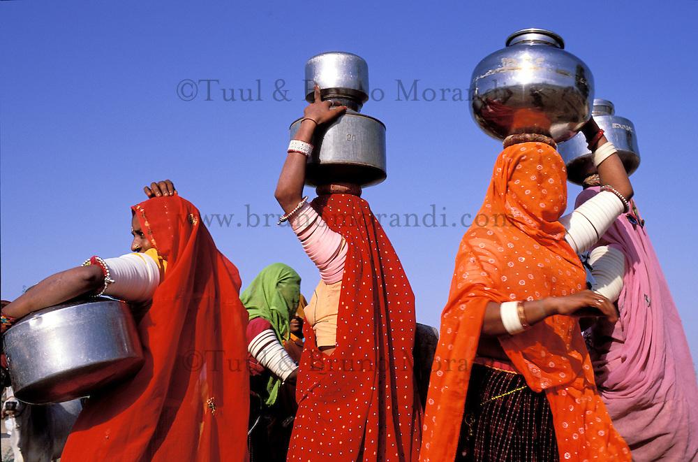 Inde. Rajasthan. Region de Jaisalmer. Femmes à la corvé d'eau au puit du village. // India. Rajasthan. Jaisalmer area. Rajpute woman at the village well.