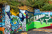 Colorful mural welcomes visitors to Brattleboro, Vermont, USA.