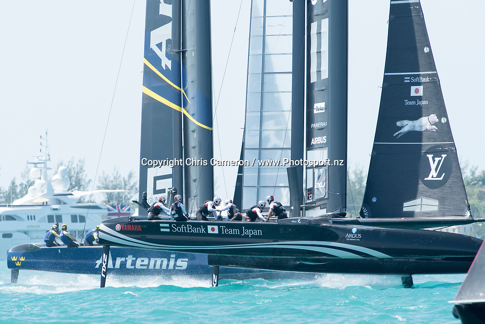 The Great Sound, Bermuda. 5th June 2017. Artemis Racing (SWE) and Soft Bank Team Japan start their second race of the Louis Vuitton America's Cup Challenger Playoff Semi-Finals. Artemis won the race. © Copyright photo: Chris Cameron / www.photosport.nz