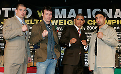 (L to R) Notre Dame defensive back Tommy Zbikowski, John Duddy, WBO Jr. Welterweight Champion, Miguel Cotto and challenger Paulie Malignaggi pose at the press conference announcing their upcoming fights June 10, 2006 at Madison Square Garden.