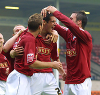 Photo: Dave Linney.<br />Walsall v Macclesfield Town. Coca Cola League 2. 16/09/2006Walsalls .Scott Dann(C) celebrates after maing it 2-0 to Walsall.